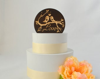 Love Birds Natural Wood Wedding Cake Topper