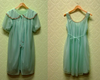 vintage Turquoise blue Peignoir Set 1960s nightgown and robe Chiffon Delicate Rose embroidered trim Holiday Gift
