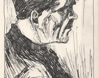 """van Gogh's Head of a Peasant. Ink on Paper. 8.25"""" x 11.5"""""""
