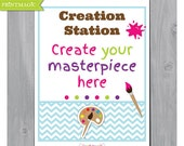 Art Party Signs - Instant Download - Artist Birthday Party - Artist Party Signs - Art Party Activity Sign - Painting Party Sign