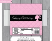 Fashion Girl Large Hershey Bar Wrapper - Editable Text Template - Instant Download - Girl Birthday Party Favor - Candy Bar Wrapper
