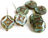 Coin beads, Czech picasso beads - Antique Blue Green - glass table cut beads, round - 15mm - 4Pc - 0534