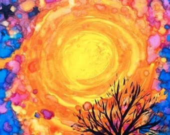 "Supernovae Original Art Print ""Tree Series 37"" 8x10"" FREE Shipping Abstract Nature Painting Watercolor Stars"