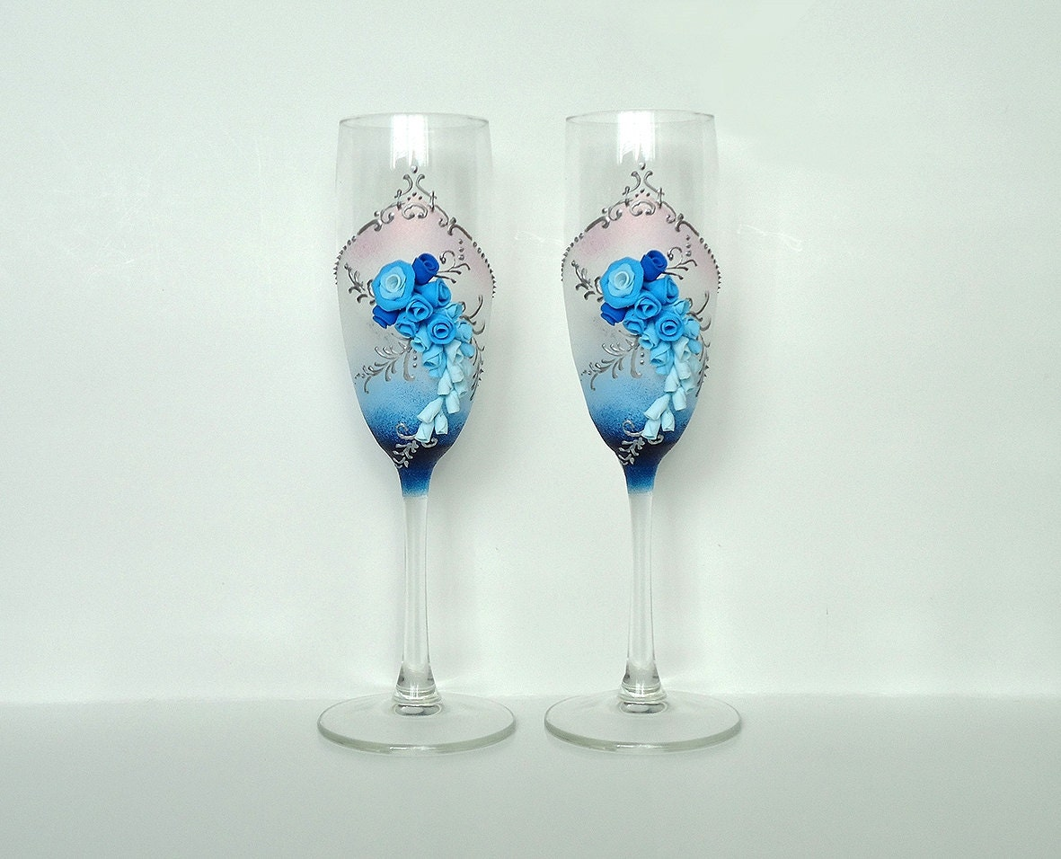 Blue Wedding Champagne Glasses Toasting Flutes Roses Favor