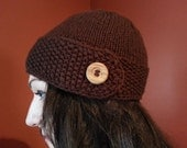 Brown Button Flap Hat