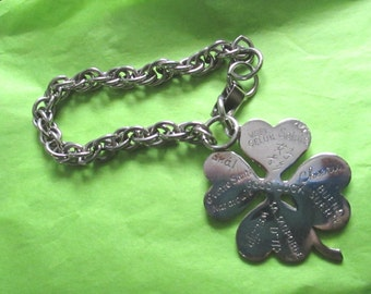 Vintage 1950's Large Shamrock Good Luck Charm Bracelet Different Languages St Patricks Day costume jewelry Irish casino gambling