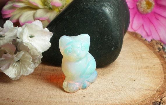 Opalite Gem Cat, Hand Carved Opalite, October Birthstone
