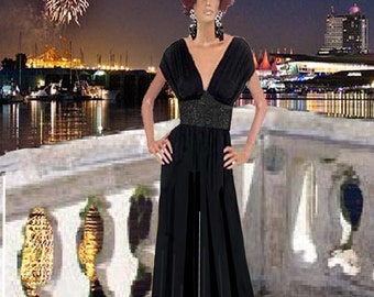 Women's Palazzo Black Jumpsuit Jeweled Center Made To Measurement