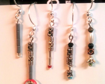 Sonic Screwdriver Earrings (Any Doctor) - Beaded Doctor Who Jewelry