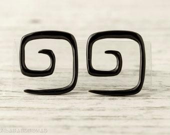 """Spiral Gauge Earrings Black Horn Square Earrings16g 14g 12g 10g 8g 6g 4g 2g 0g 00g 1/2""""  Expanders - GA009 H G1"""