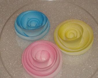 Wafer Rice Paper Ribbon Rose Cake Toppers  for Cakes, Cookies, Cake Pops and Cupcake s