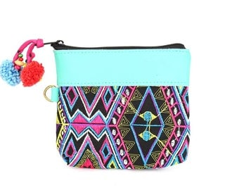 Multi-Colored Embroidered Coin Pouch Pom Pom Zip Pull  ( (BG290XL-14C2)