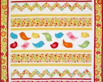 Chevron Bird Quilt - Baby Crib - 40 in. X55 in.