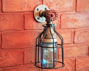 Outdoor Porch Light Industrial Farmhouse Wall Sconce, Outside Light Industrial Lighting Mason Jar Cage Light Wall sconce lihgting fixture