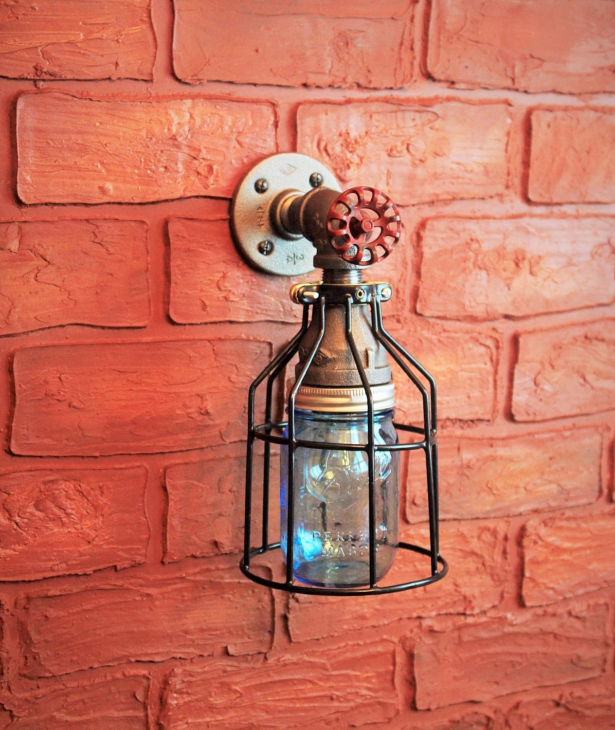 Industrial Pipe Wall Light: Industrial Pipe Wall Sconce Blue Mason Jar Covered W/ Cage