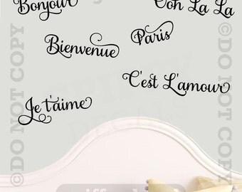 Paris France Ooh La La Bonjour Theme Vinyl Wall Decal Sticker Words