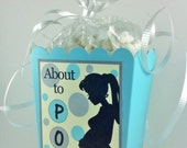 About To Pop Baby Shower Popcorn Favor Boxes Aqua Blue, Yellow, & Gray