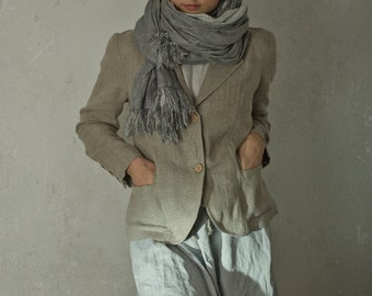 RUSTIC LINEN JACKET with Elbow Patches