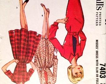 "Vintage 1964 McCall's Misses' Shirtwaist Dress Pattern 7403 Size 12 (32"" Bust)"