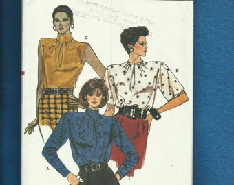 1986 Vogue 9719 Strong Shoulder Stand Up Collar Blouses Sizes  8..10..12 UNCUT