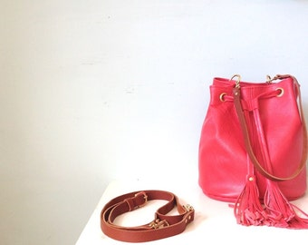Coral red bucket bag, coral leather bag, red bucket handbag