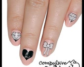 Diamonds and bows bridal nail wraps. Nail decals nail art for wedding. Nail polish strip nail art.