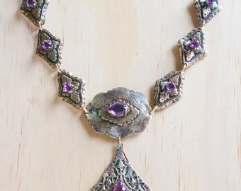 Victorian- Fantasy Silver Amethyst Necklace and Earrings