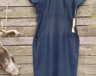 1950's Gorgeous Eyelet Navy straight Dress with Chinese Collar and Bustline