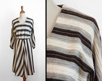 Chevron Stripe Dress 70s Brown Grey Black Size Large Batwing Sleeve