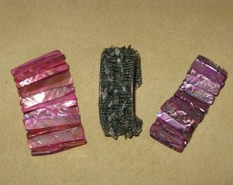 Bracelets Stretch SHELL and Beads, Stones Cuff Bangle Lot of 3 Blue, Purple, Pink