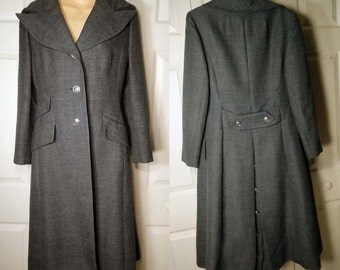 Vintage Steampunk maxi coat grey S military custom tailored design Utah Mills