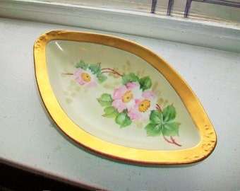 Nut or Candy Dish Vintage Royal Austria O & EG Gold Trim Hand Painted Flowers