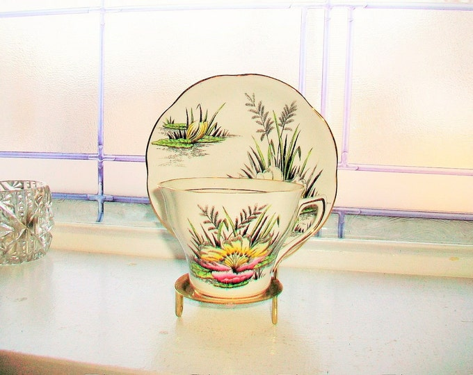 Rosina Tea Cup and Saucer July Water Lilly Vintage