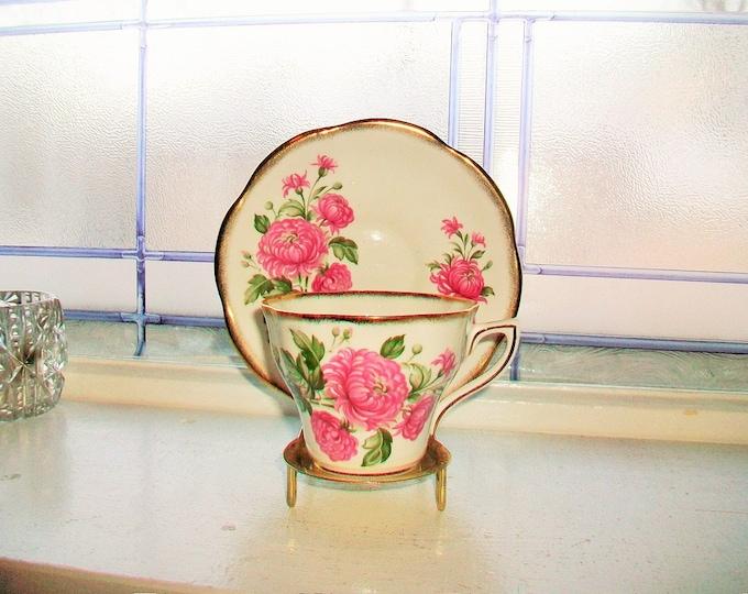 Rosinia Tea Cup and Saucer Pink Flowers Vintage