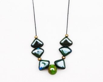 Green Triangle Necklace, Green And Blue Ceramic Necklace, Geometric Necklace, Clay Necklace