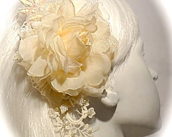 Lace Bridal Hairpiece Vintage Victorian Ivory Hair Comb OOAK B-122
