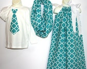 Mommy daughter son matching outfits pillowcase dress infinity scarf tie shirt