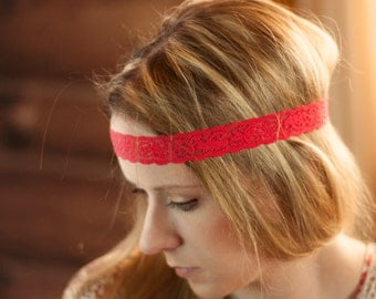 Red Lace Headband, Adult Skinny Headband, Lace Hair Band, Stretchy Women's Head Piece, Stretch Thin Forehead Accessories, Bohemian Thin