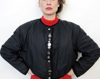 Vintage Black Oktoberfest Cropped Folk Jacket with Coin Buttons