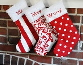 Christmas Stocking Personalized Dots Wholesale Lipstick Red Polka Dot Traditional Damask Canopy Stripe no.361 no.045 no,037