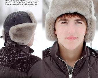 Sheepskin Trapper Ushanka Aviator Russian Fur Hat Unisex BEIGE Arctic Store® Arktika
