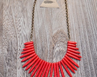 Red Bib Spike Necklace and Chain