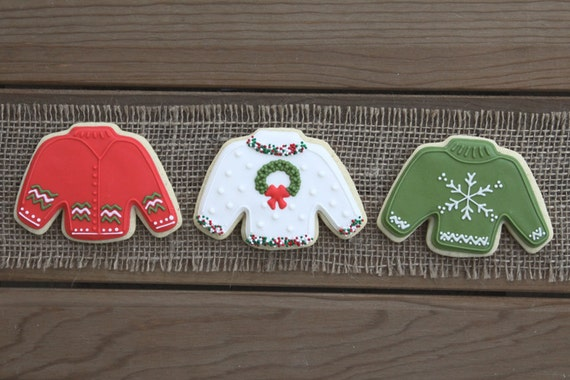 Christmas Party Favors / Ugly Christmas Sweater / Ugly Christmas Sweater Party Favors / Ugly Christmas Sweater Sugar Cookies - 12 cookies