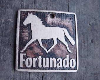 Your Horse Etched Brass Dog Tag 1.25 in square, Custom Horse Halter Tag