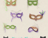 Watercolor Mardi Gras Masks Handpainted Clipart