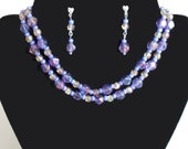 Necklace Earrings Set Blue Beads Silver Heart Post Dangle Earrings