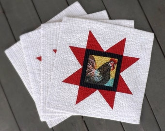 American Red Star Rooster Chicken quilted placemats (set of 4) Farmhouse country heartland home modern folk family dinner americana western