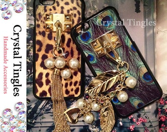 Stunning Beautiful Peacock Leopard Pattern Gold Leaf Plated Wristlet Wrist Chain Faux White Pearls Charms Tassel Studs Case For iPhone 6s
