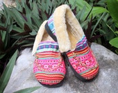 Moccasin Style Womens Slippers Ethnic Hmong Pink Striped Embroidery With Plush Lining Gift - Riley