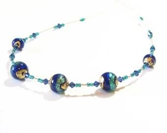 Murano Glass Aqua Cobalt Blue Ball Gold Necklace, Venetian Glass Jewelry, Italian Jewellery